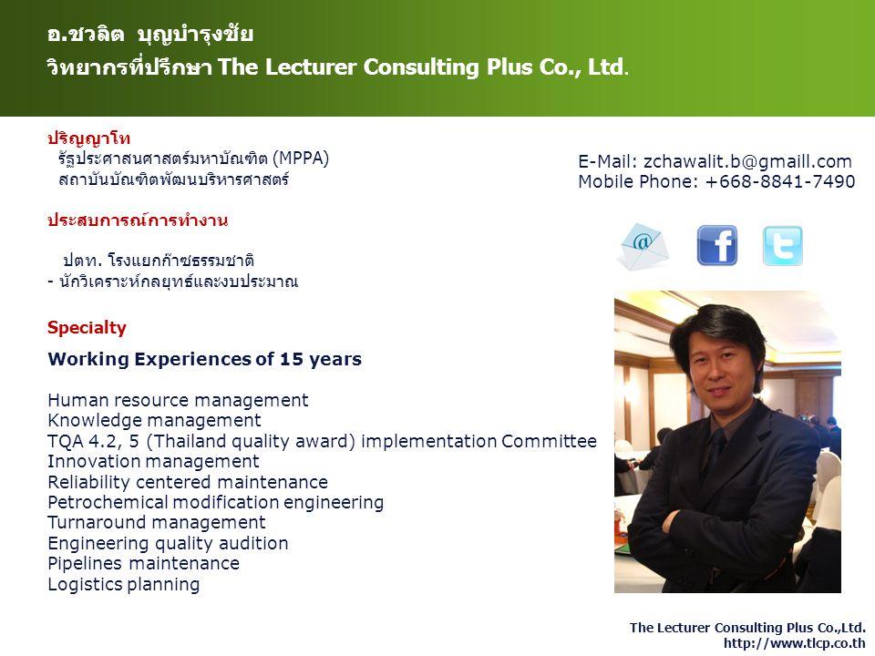 The Lecturer Consulting Plus Co.,Ltd. http://www.tlcp.co.th อ.ชวลิต บุญบำรุงชัย วิทยากรที่ปรึกษา The Lecturer Consulting Plus Co., Ltd. ปริญญาโท รัฐปร