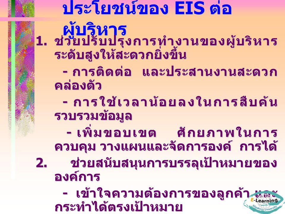 ประโยชน์ของ EIS ต่อ ผู้บริหาร 1.