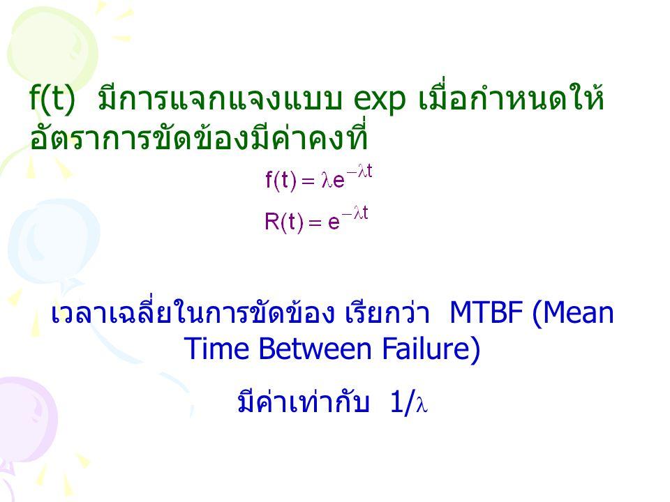f(t) มีการแจกแจงแบบ exp เมื่อกำหนดให้ อัตราการขัดข้องมีค่าคงที่ เวลาเฉลี่ยในการขัดข้อง เรียกว่า MTBF (Mean Time Between Failure) มีค่าเท่ากับ 1/