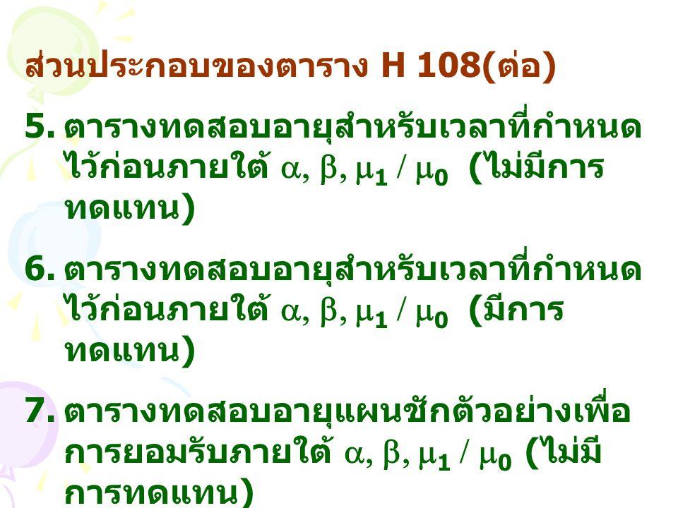 ส่วนประกอบของตาราง H 108( ต่อ ) 5. ตารางทดสอบอายุสำหรับเวลาที่กำหนด ไว้ก่อนภายใต้ , ,  1 /  0 ( ไม่มีการ ทดแทน ) 6. ตารางทดสอบอายุสำหรับเวลาที่กำห