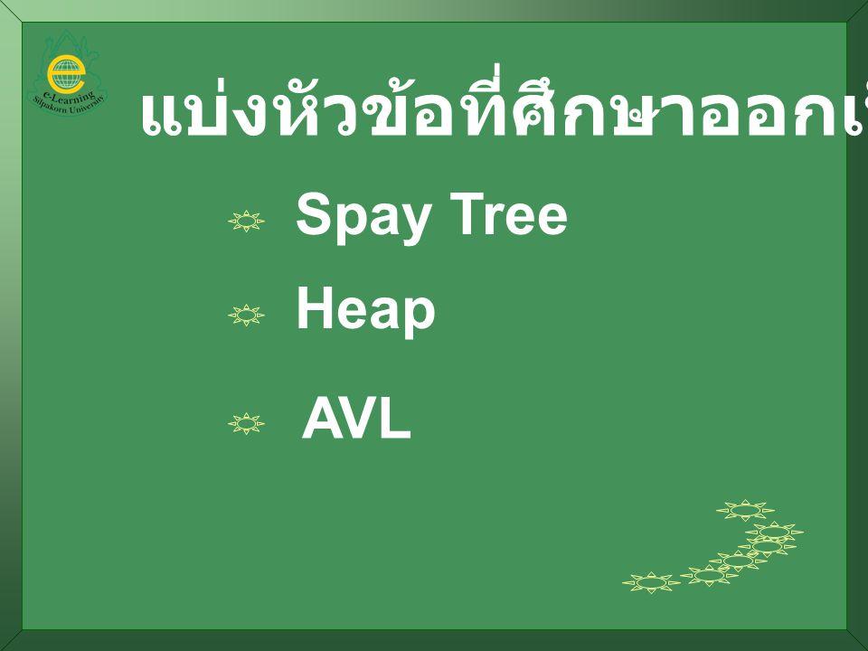 แบ่งหัวข้อที่ศึกษาออกเป็น Spay Tree Heap AVL