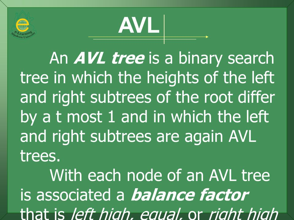 AVL An AVL tree is a binary search tree in which the heights of the left and right subtrees of the root differ by a t most 1 and in which the left and