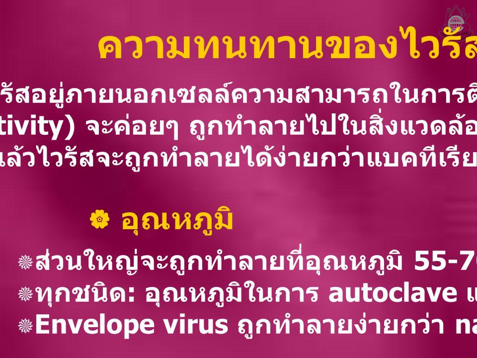 ความทนทานของไวรัส เมื่อไวรัสอยู่ภายนอกเซลล์ความสามารถในการติดเชื้อ (infectivity) จะค่อยๆ ถูกทำลายไปในสิ่งแวดล้อม โดย ทั่วไปแล้วไวรัสจะถูกทำลายได้ง่ายก