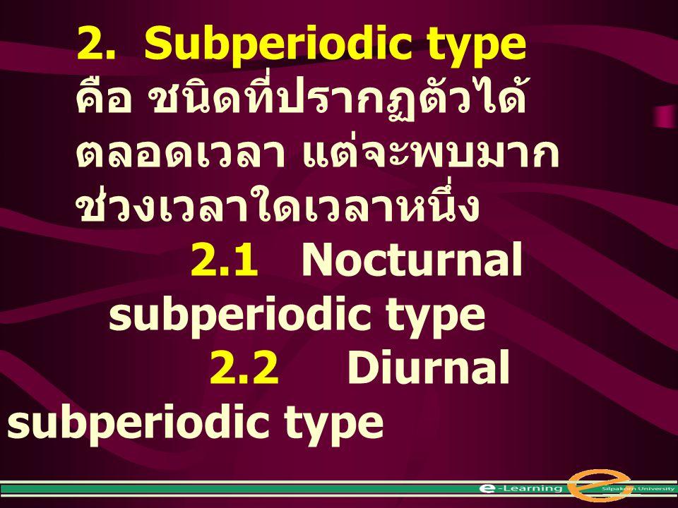 2. Subperiodic type คือ ชนิดที่ปรากฏตัวได้ ตลอดเวลา แต่จะพบมาก ช่วงเวลาใดเวลาหนึ่ง 2.1 Nocturnal subperiodic type 2.2Diurnal subperiodic type