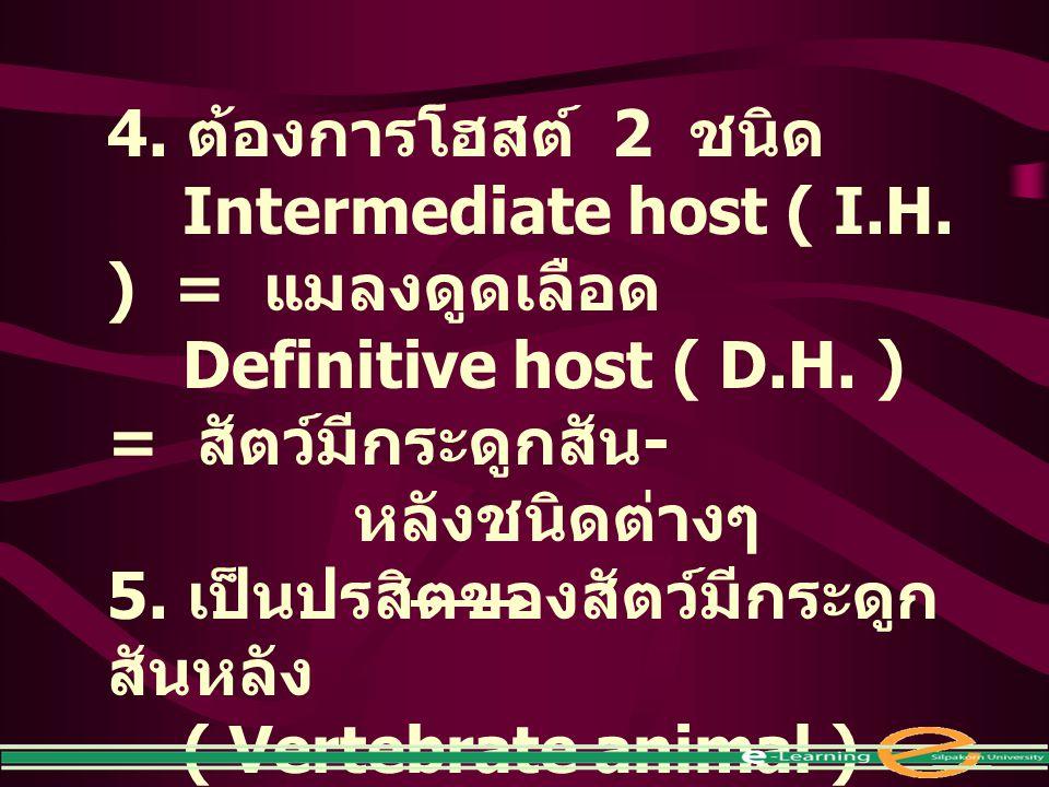 4. ต้องการโฮสต์ 2 ชนิด Intermediate host ( I.H. ) = แมลงดูดเลือด Definitive host ( D.H. ) = สัตว์มีกระดูกสัน - หลังชนิดต่างๆ 5. เป็นปรสิตของสัตว์มีกระ