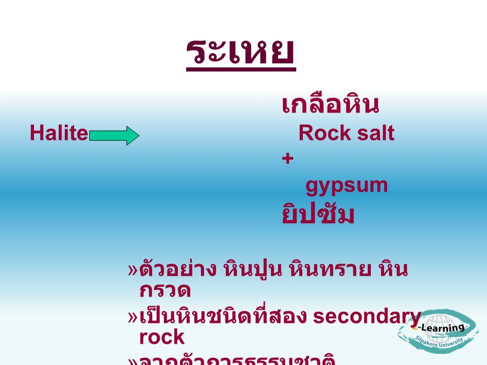 ระเหย เกลือหิน Halite Rock salt + gypsum ยิปซัม » ตัวอย่าง หินปูน หินทราย หิน กรวด » เป็นหินชนิดที่สอง secondary rock » จากตัวการธรรมชาติ
