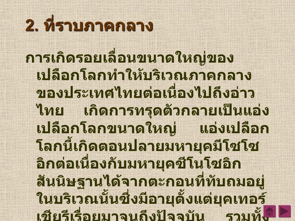 2. ที่ราบภาคกลาง การเกิดรอยเลื่อนขนาดใหญ่ของ เปลือกโลกทำให้บริเวณภาคกลาง ของประเทศไทยต่อเนื่องไปถึงอ่าว ไทย เกิดการทรุดตัวกลายเป็นแอ่ง เปลือกโลกขนาดให