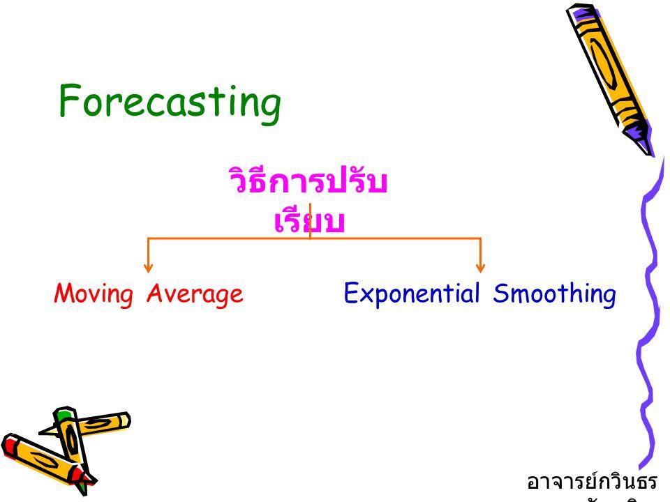 Forecasting วิธีการปรับ เรียบ Moving AverageExponential Smoothing อาจารย์กวินธร สัยเจริญ