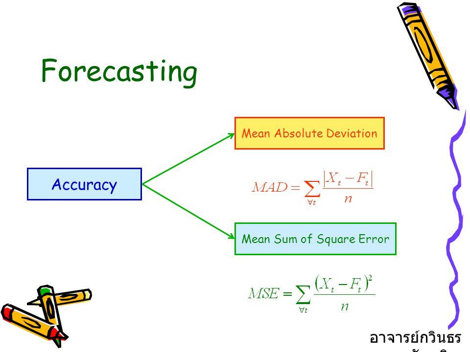 Forecasting ชนิดของการพยากรณ์ - อาศัยความคิดเห็นเป็นหลัก - อาศัยดัชนี - อาศัยข้อมูลในอดีต - อาศัยการวิจัยตลาด - ใช้วิธีปรับเรียบ อาจารย์กวินธร สัยเจริญ