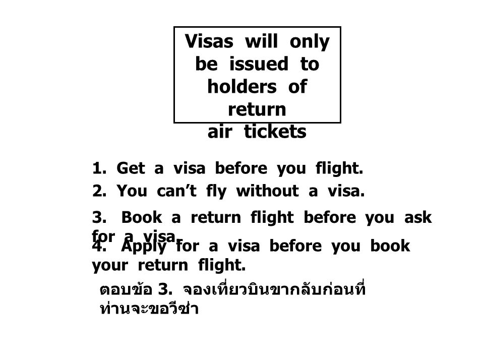 Visas will only be issued to holders of return air tickets 1.