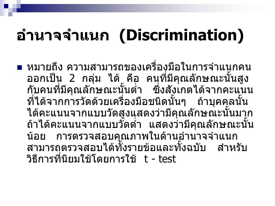 อำนาจจำแนก (Discrimination) หมายถึง ความสามารถของเครื่องมือในการจำแนกคน ออกเป็น 2 กลุ่ม ได้ คือ คนที่มีคุณลักษณะนั้นสูง กับคนที่มีคุณลักษณะนั้นต่ำ ซึ่