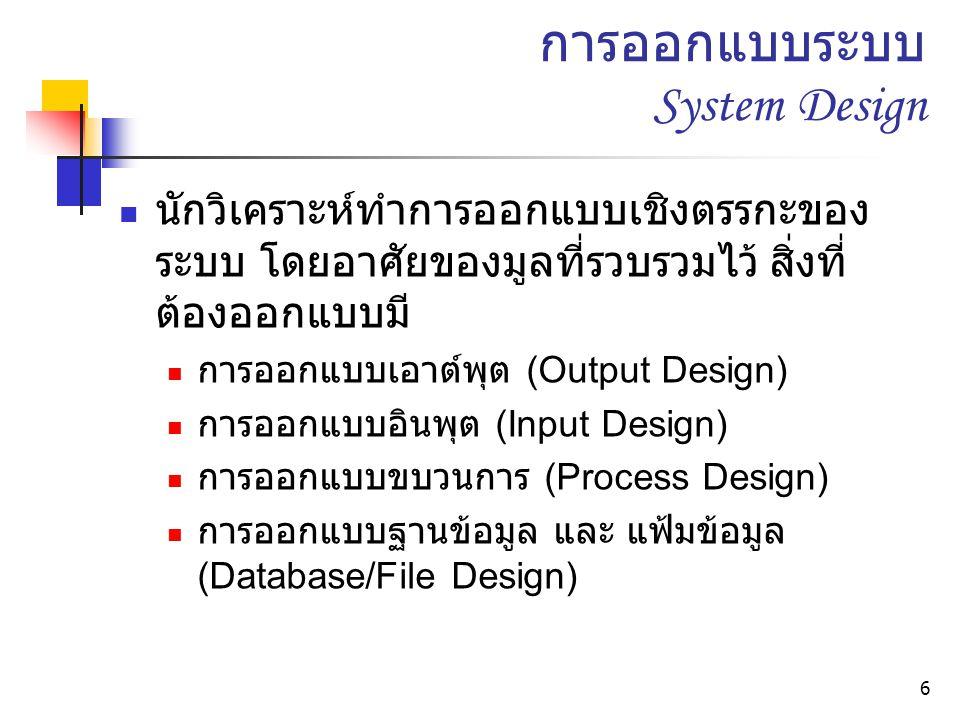 6 การออกแบบระบบ System Design นักวิเคราะห์ทำการออกแบบเชิงตรรกะของ ระบบ โดยอาศัยของมูลที่รวบรวมไว้ สิ่งที่ ต้องออกแบบมี การออกแบบเอาต์พุต (Output Design) การออกแบบอินพุต (Input Design) การออกแบบขบวนการ (Process Design) การออกแบบฐานข้อมูล และ แฟ้มข้อมูล (Database/File Design)