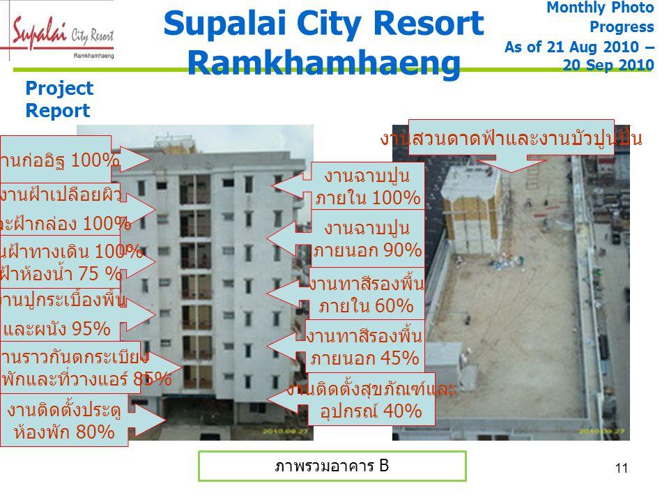 11 Supalai City Resort Ramkhamhaeng Monthly Photo Progress As of 21 Aug 2010 – 20 Sep 2010 Project Report ภาพรวมอาคาร B งานฝ้าเปลือยผิว และฝ้ากล่อง 10