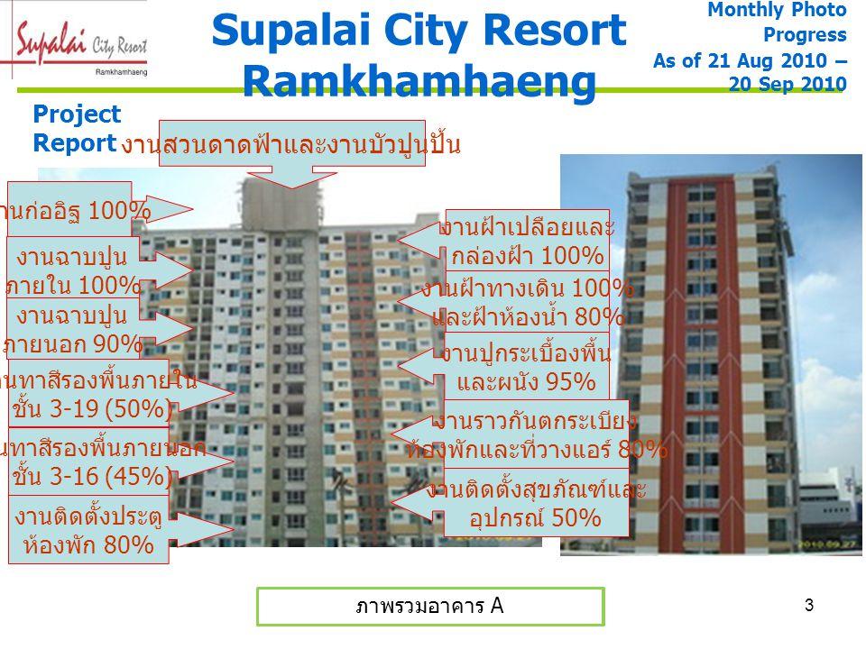 3 ภาพรวมอาคาร A และ B Supalai City Resort Ramkhamhaeng Monthly Photo Progress As of 21 Aug 2010 – 20 Sep 2010 Project Report ภาพรวมอาคาร A งานก่ออิฐ 1