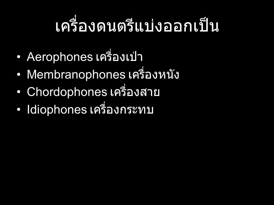 เครื่องดนตรีแบ่งออกเป็น Aerophones เครื่องเป่า Membranophones เครื่องหนัง Chordophones เครื่องสาย Idiophones เครื่องกระทบ