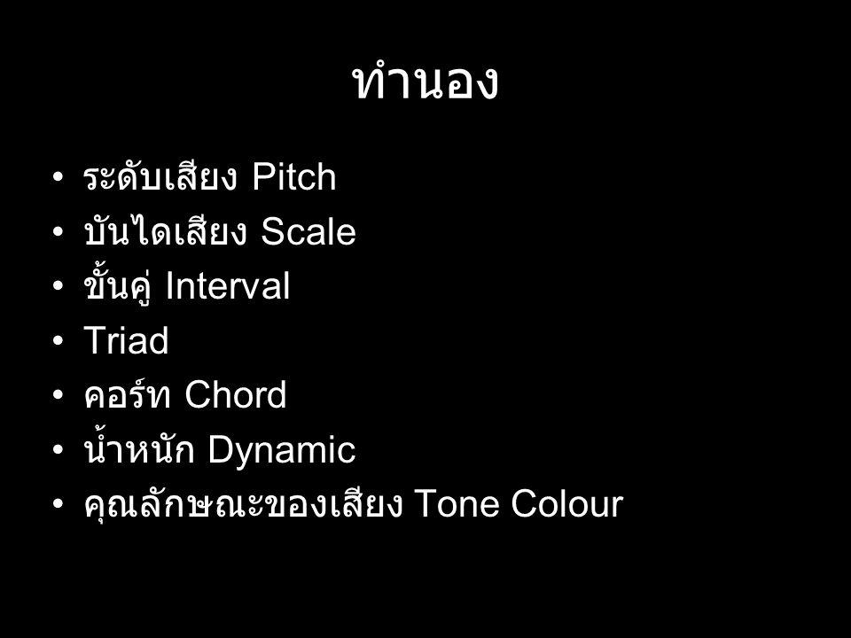 ทำนอง ระดับเสียง Pitch บันไดเสียง Scale ขั้นคู่ Interval Triad คอร์ท Chord น้ำหนัก Dynamic คุณลักษณะของเสียง Tone Colour