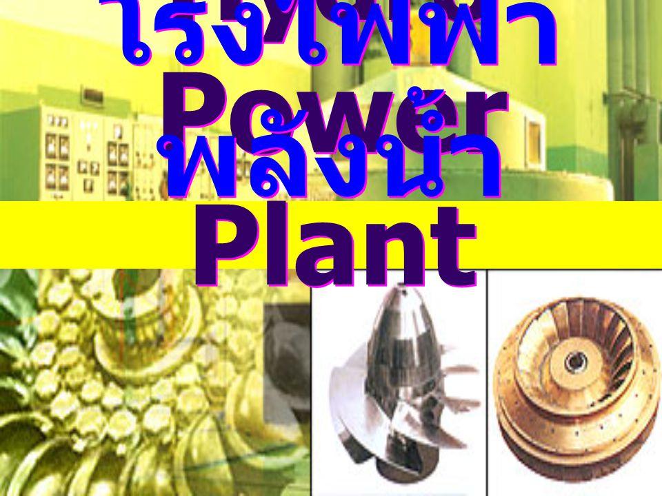 12 ส่วนประกอบของโรงไฟฟ้า พลังงานน้ำ กังหัน Turbine เป็นตัวรับแรงกระทำจากน้ำที่ ใช้แรงดันมาฉีดหรือผลักดันให้หมุน Turbine บางชนิดจะต้องมีหัวฉีดน้ำควบคู่กัน