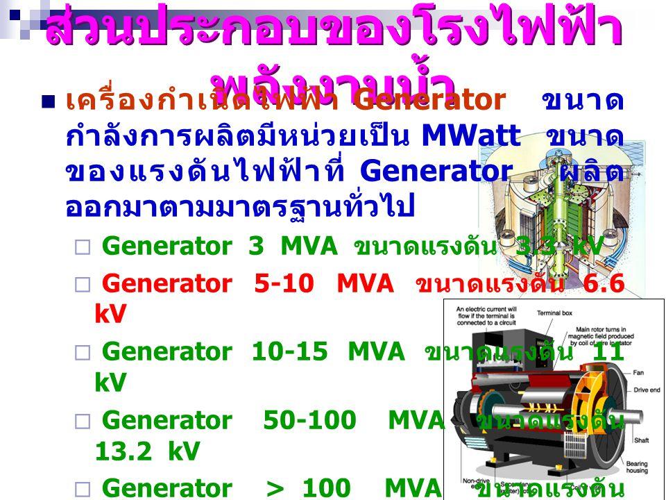 17 ส่วนประกอบของโรงไฟฟ้า พลังงานน้ำ เครื่องกำเนิดไฟฟ้า Generator ขนาด กำลังการผลิตมีหน่วยเป็น MWatt ขนาด ของแรงดันไฟฟ้าที่ Generator ผลิต ออกมาตามมาตร