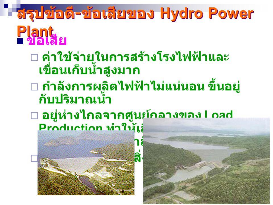 26 สรุปข้อดี - ข้อเสียของ Hydro Power Plant ข้อเสีย  ค่าใช้จ่ายในการสร้างโรงไฟฟ้าและ เขื่อนเก็บน้ำสูงมาก  กำลังการผลิตไฟฟ้าไม่แน่นอน ขึ้นอยู่ กับปริ