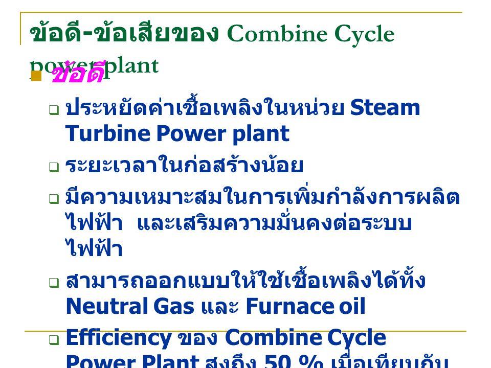 ข้อดี - ข้อเสียของ Combine Cycle power plant ข้อดี  ประหยัดค่าเชื้อเพลิงในหน่วย Steam Turbine Power plant  ระยะเวลาในก่อสร้างน้อย  มีความเหมาะสมในก