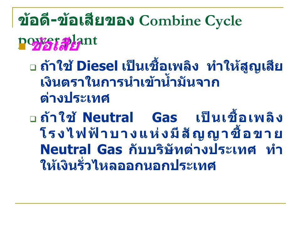 ข้อดี - ข้อเสียของ Combine Cycle power plant ข้อเสีย  ถ้าใช้ Diesel เป็นเชื้อเพลิง ทำให้สูญเสีย เงินตราในการนำเข้าน้ำมันจาก ต่างประเทศ  ถ้าใช้ Neutr