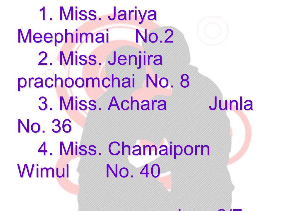 Members 1.Miss. Jariya Meephimai No.2 2. Miss. Jenjira prachoomchai No.