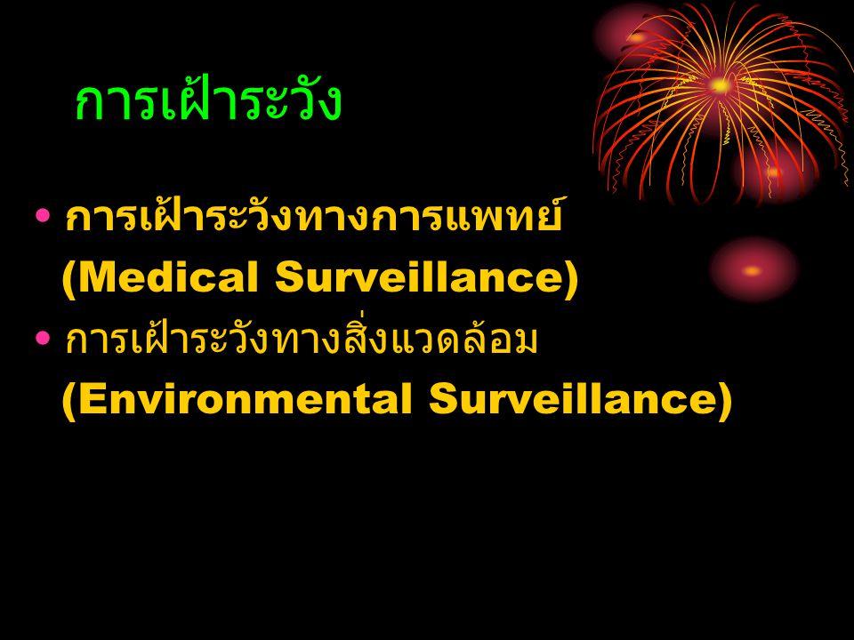 การเฝ้าระวัง การเฝ้าระวังทางการแพทย์ (Medical Surveillance) การเฝ้าระวังทางสิ่งแวดล้อม (Environmental Surveillance)