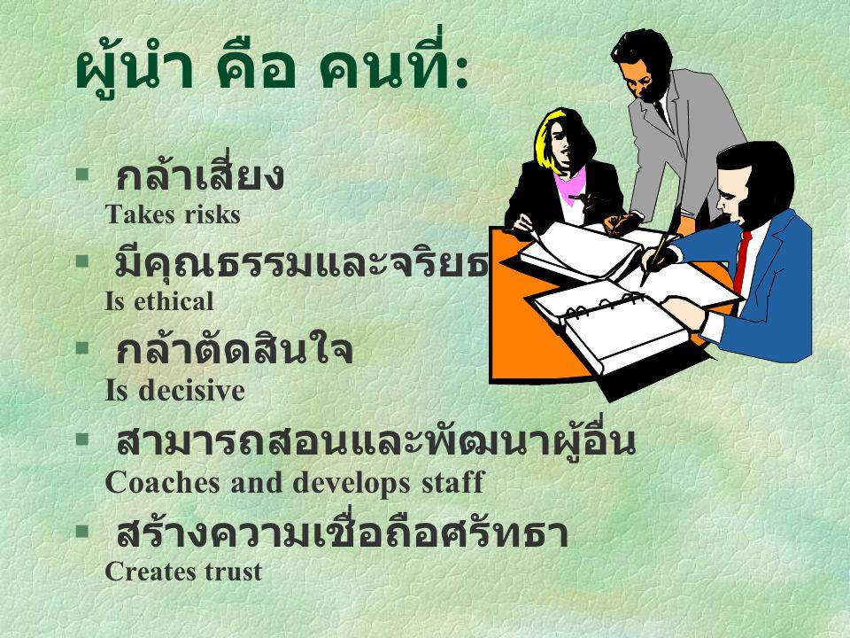 เครื่องมือและกลยุทธ์การ เป็นผู้นำ §Communication §Rewards §Building trust §Building coalitions §Strategies for influence