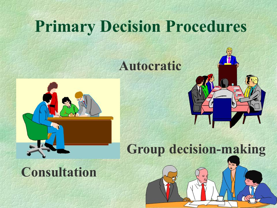 Continuum in Decision-Making Directive Assertive Persuader Consultative Collaborative Leader Centered Group Centered Area of Freedom of the Group Use