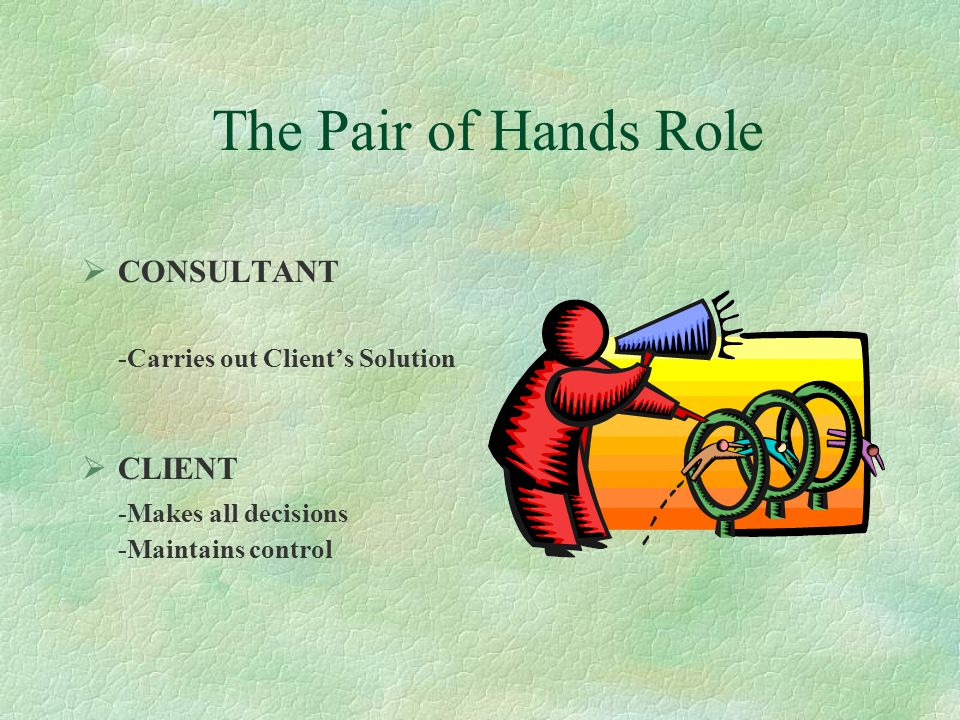 The Expert Consultant's Role  CONSULTANT -Develops the Solution -Solves the Problem  CLIENT -Passive -Accepts the Solution - Judges if problem is so