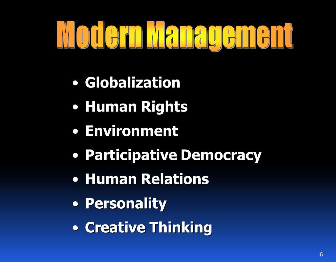 GlobalizationGlobalization Human RightsHuman Rights EnvironmentEnvironment Participative DemocracyParticipative Democracy Human RelationsHuman Relations PersonalityPersonality Creative ThinkingCreative Thinking 6