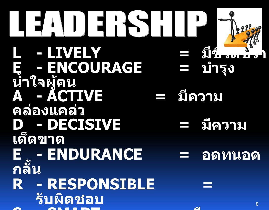 L- LIVELY = มีชีวิตชีวา E- ENCOURAGE = บำรุง น้ำใจผู้คน A- ACTIVE = มีความ คล่องแคล่ว D- DECISIVE = มีความ เด็ดขาด E- ENDURANCE = อดทนอด กลั้น R- RESPONSIBLE = รับผิดชอบ S- SMART = เฉลียวฉลาด สง่างาม H - HEALTHY = สุขภาพกาย และใจดี I - INFORMATIVE = มีความ สนใจข่าวสาร P - POLITE = มีความสุภาพ 8