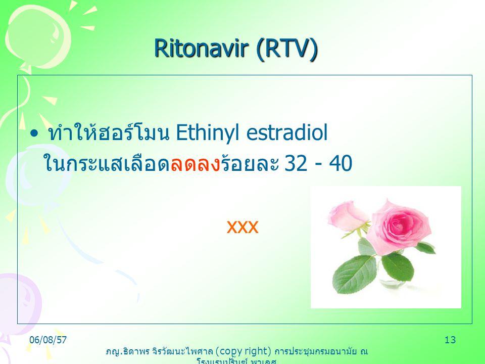 ภญ. ธิดาพร จิรวัฒนะไพศาล (copy right) การประชุมกรมอนามัย ณ โรงแรมปริ๊นซ์ พาเลส 06/08/5713 Ritonavir (RTV) ทำให้ฮอร์โมน Ethinyl estradiol ในกระแสเลือดล