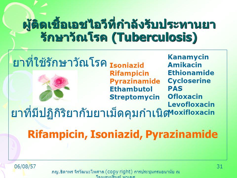ภญ. ธิดาพร จิรวัฒนะไพศาล (copy right) การประชุมกรมอนามัย ณ โรงแรมปริ๊นซ์ พาเลส 06/08/5731 ผู้ติดเชื้อเอชไอวีที่กำลังรับประทานยา รักษาวัณโรค (Tuberculo