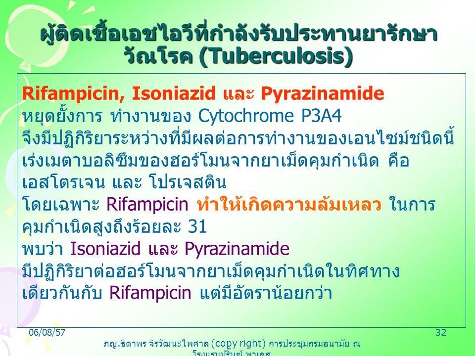ภญ. ธิดาพร จิรวัฒนะไพศาล (copy right) การประชุมกรมอนามัย ณ โรงแรมปริ๊นซ์ พาเลส 06/08/5732 Rifampicin, Isoniazid และ Pyrazinamide หยุดยั้งการ ทำงานของ
