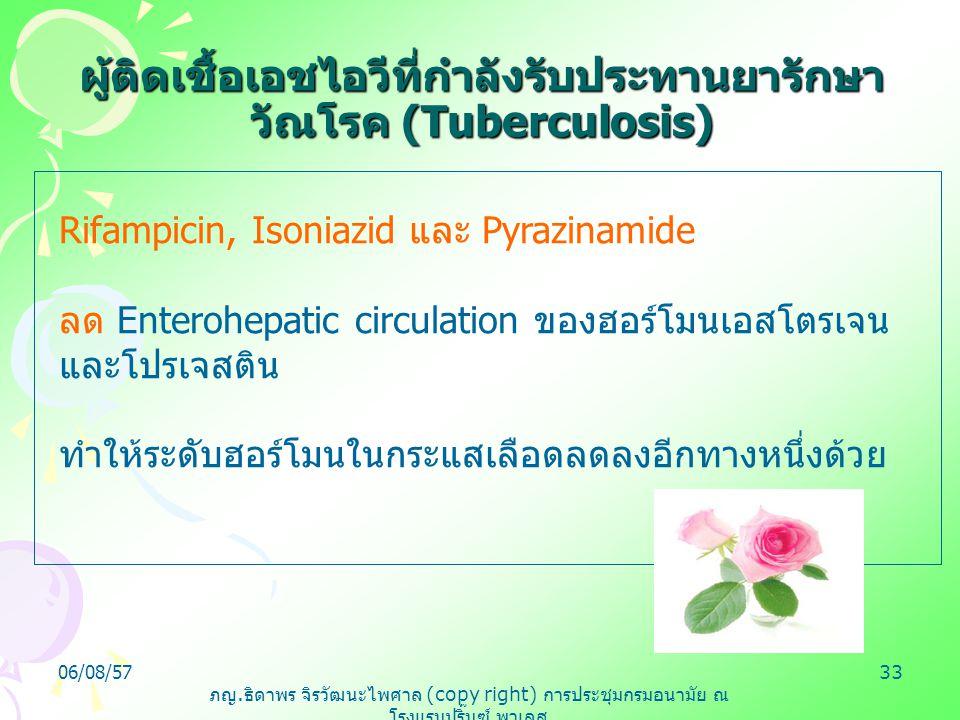 ภญ. ธิดาพร จิรวัฒนะไพศาล (copy right) การประชุมกรมอนามัย ณ โรงแรมปริ๊นซ์ พาเลส 06/08/5733 Rifampicin, Isoniazid และ Pyrazinamide ลด Enterohepatic circ