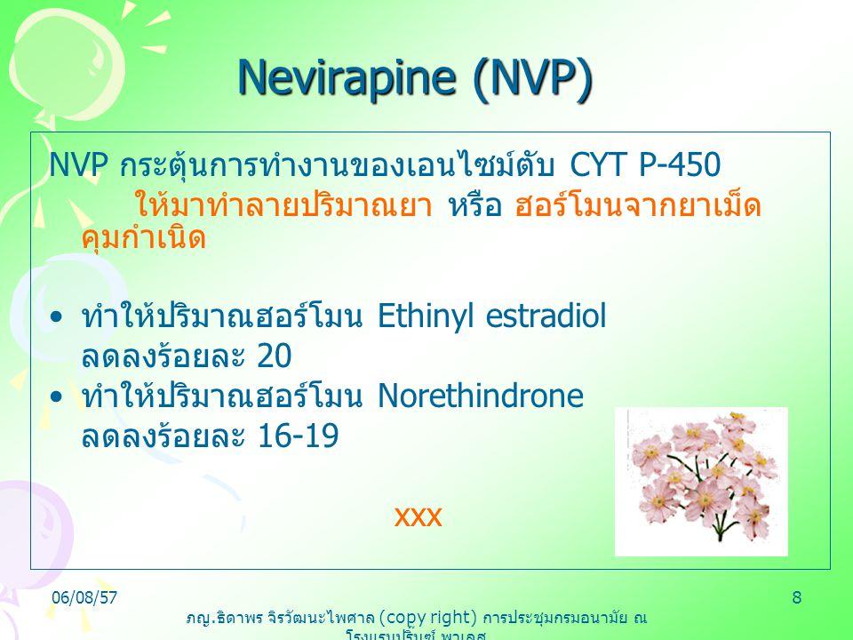 ภญ. ธิดาพร จิรวัฒนะไพศาล (copy right) การประชุมกรมอนามัย ณ โรงแรมปริ๊นซ์ พาเลส 06/08/578 Nevirapine (NVP) NVP กระตุ้นการทำงานของเอนไซม์ตับ CYT P-450 ใ