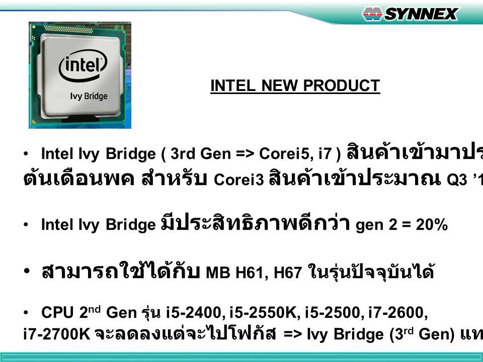 INTEL NEW PRODUCT Intel Ivy Bridge ( 3rd Gen => Corei5, i7 ) สินค้าเข้ามาประมาณ ต้นเดือนพค สำหรับ Corei3 สินค้าเข้าประมาณ Q3 '12 Intel Ivy Bridge มีประสิทธิภาพดีกว่า gen 2 = 20% สามารถใช้ได้กับ MB H61, H67 ในรุ่นปัจจุบันได้ CPU 2 nd Gen รุ่น i5-2400, i5-2550K, i5-2500, i7-2600, i7-2700K จะลดลงแต่จะไปโฟกัส => Ivy Bridge (3 rd Gen) แทน