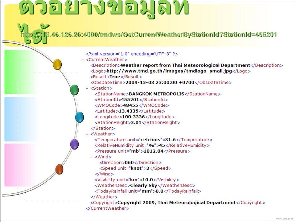 ตัวอย่างข้อมูลที่ ได้ http://119.46.126.26:4000/tmdws/GetCurrentWeatherByStationId?StationId=455201