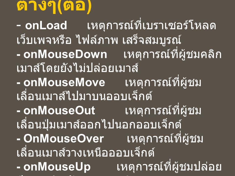 ความหมายของ Event ต่างๆ ( ต่อ ) - onLoad เหตุการณ์ที่เบราเซอร์โหลด เว็บเพจหรือ ไฟล์ภาพ เสร็จสมบูรณ์ - onMouseDown เหตุการณ์ที่ผู้ชมคลิก เมาส์โดยยังไม่ปล่อยเมาส์ - onMouseMove เหตุการณ์ที่ผู้ชม เลื่อนเมาส์ไปมาบนออบเจ็กต์ - onMouseOut เหตุการณ์ที่ผู้ชม เลื่อนปุ่มเมาส์ออกไปนอกออบเจ็กต์ - OnMouseOver เหตุการณ์ที่ผู้ชม เลื่อนเมาส์วางเหนือออบเจ็กต์ - onMouseUp เหตุการณ์ที่ผู้ชมปล่อย ปุ่มเมาส์ หลังจากการคลิก