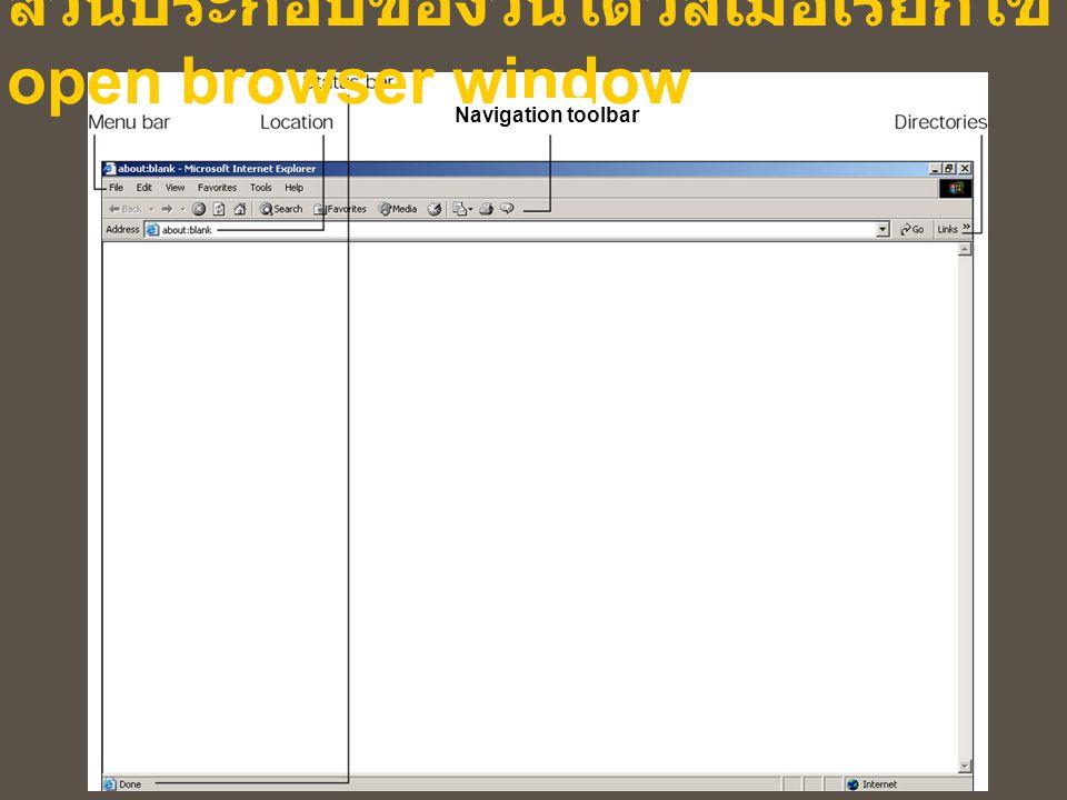 ส่วนประกอบของวินโดวส์เมื่อเรียกใช้ open browser window Navigation toolbar