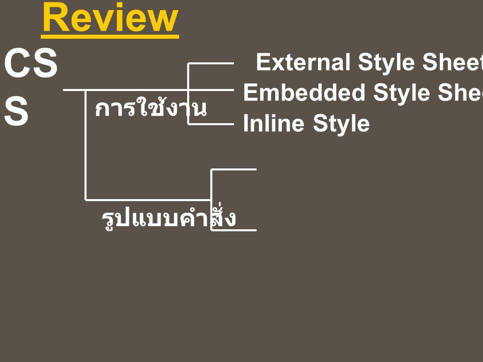 CS S Review External Style Sheet Embedded Style Sheet Inline Style การใช้งาน รูปแบบคำสั่ง
