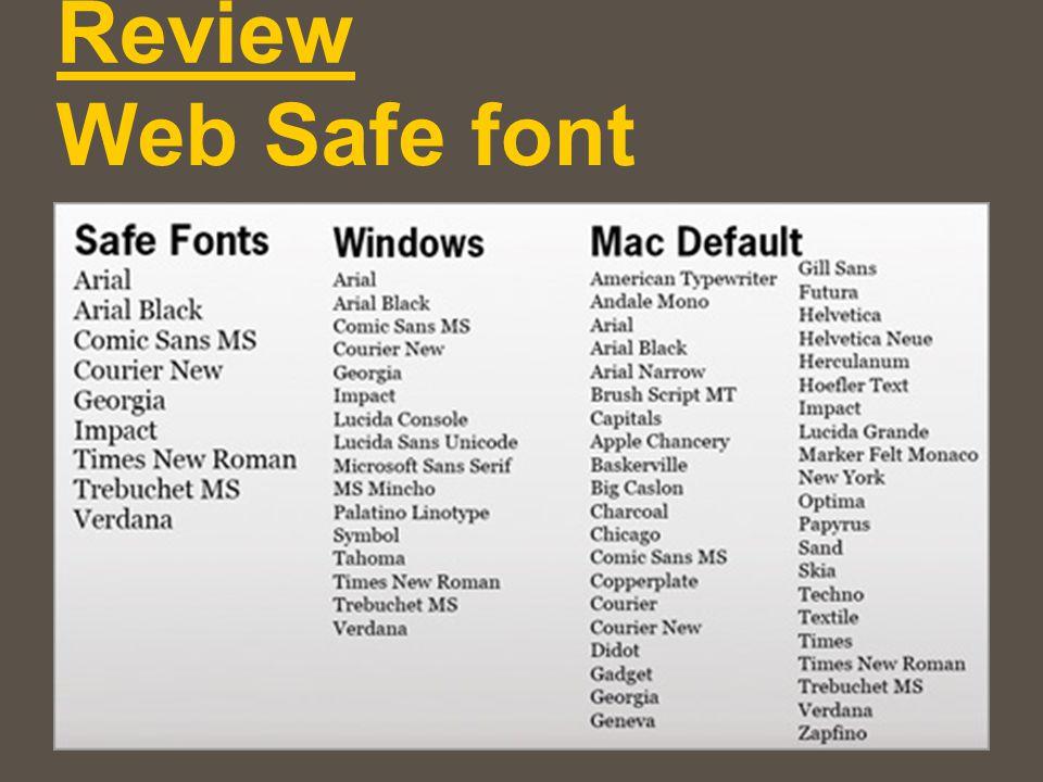 Web Safe font Review