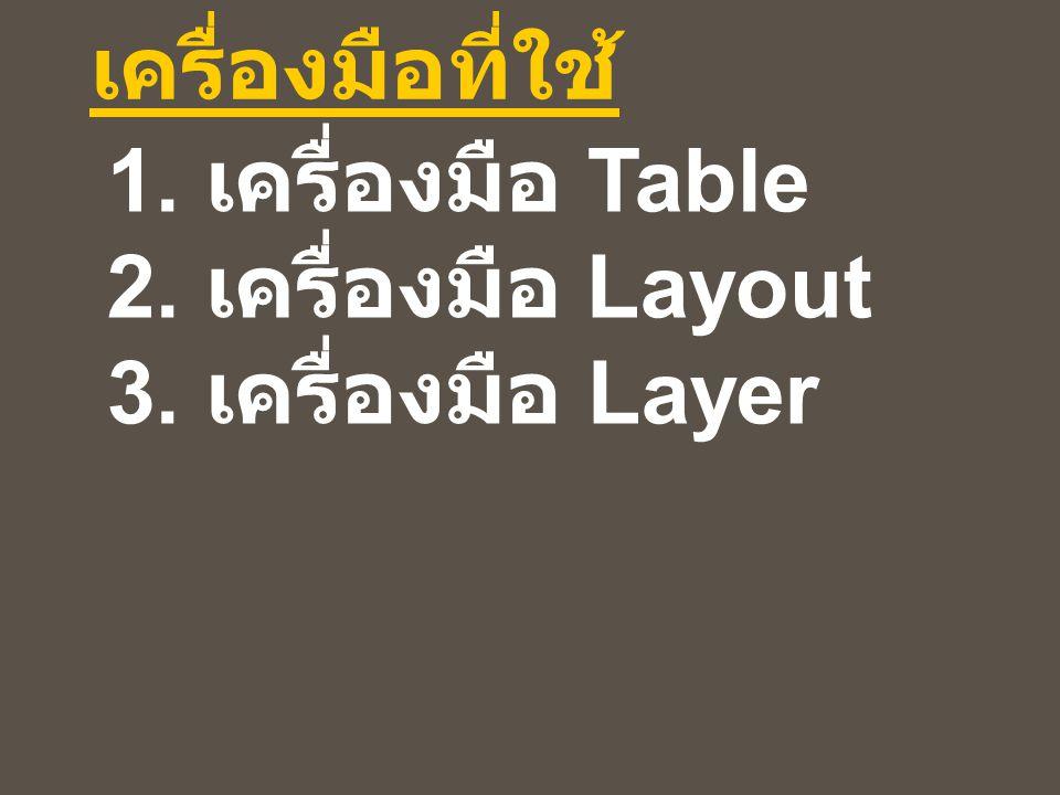 เครื่องมือที่ใช้ 1. เครื่องมือ Table 2. เครื่องมือ Layout 3. เครื่องมือ Layer