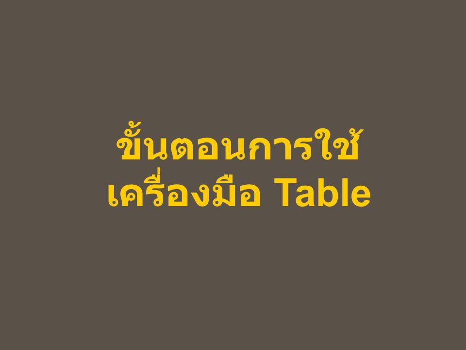 ขั้นตอนการใช้ เครื่องมือ Table