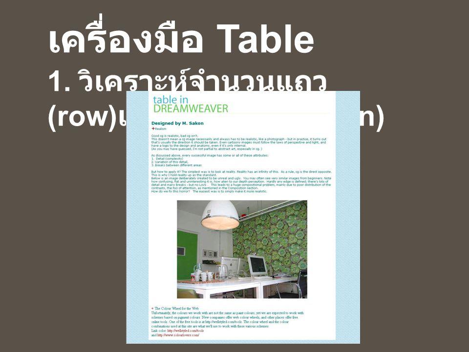 ขั้นตอนการใช้ เครื่องมือ Table 1. วิเคราะห์จำนวนแถว (row) และคอลัมภ์ (column)