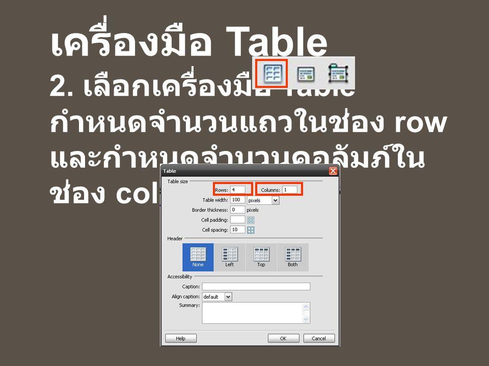 ขั้นตอนการใช้ เครื่องมือ Table 2. เลือกเครื่องมือ Table กำหนดจำนวนแถวในช่อง row และกำหนดจำนวนคอลัมภ์ใน ช่อง column