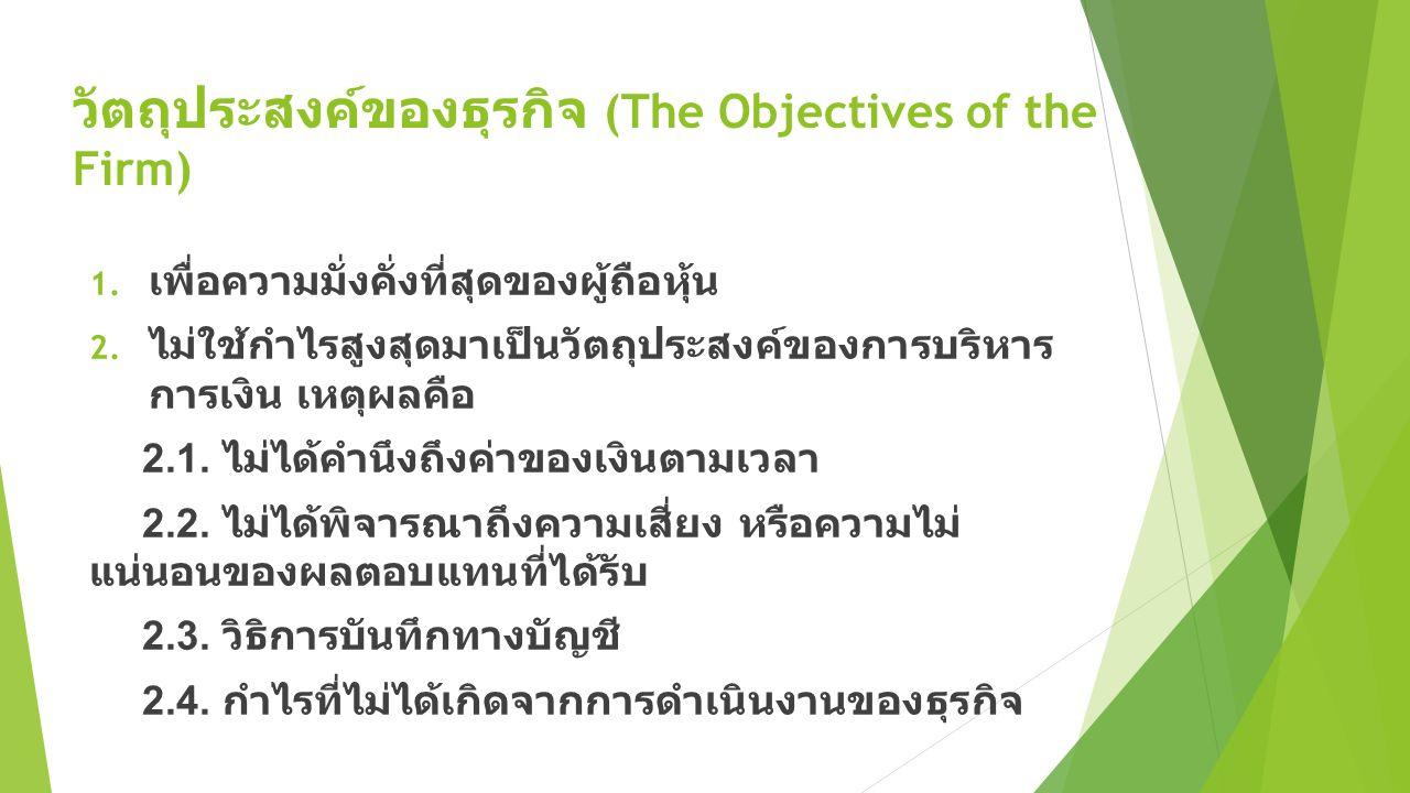 วัตถุประสงค์ของธุรกิจ (The Objectives of the Firm) 1. เพื่อความมั่งคั่งที่สุดของผู้ถือหุ้น 2. ไม่ใช้กำไรสูงสุดมาเป็นวัตถุประสงค์ของการบริหาร การเงิน เ
