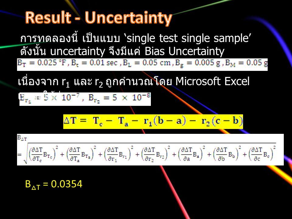 การทดลองนี้ เป็นแบบ 'single test single sample' ดังนั้น uncertainty จึงมีแค่ Bias Uncertainty เนื่องจาก r 1 และ r 2 ถูกคำนวณโดย Microsoft Excel เราจะใ