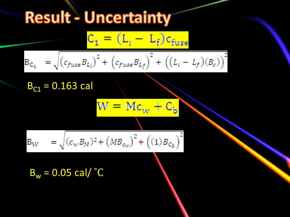 B C1 = 0.163 cal B w = 0.05 cal/ ˚C